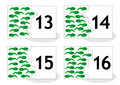 Learn counting puzzle cards, newts and tadpoles, numbers 13-16 Royalty Free Stock Photo
