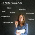 Learn english teacher with chalk background confident beautiful woman blackboard Royalty Free Stock Photo