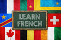 Learn french vintage background concept Royalty Free Stock Images