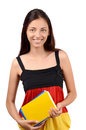 Learn german beautiful student with germany flag blouse holding books isolated on white Stock Photography