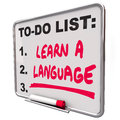 Learn a language to do list foreign dialect words on illustrate the value and skill in learning and practicing or international Royalty Free Stock Photo