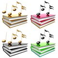 Learn music and song by books icon symbol Royalty Free Stock Images