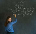 Learn science or chemistry teacher with chalk background formula confident beautiful woman blackboard Stock Photography