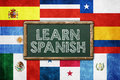 Learn spanish vintage background concept Royalty Free Stock Image