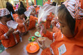Learn to cook kindergarten students the bread in the city of solo central java indonesia Stock Images
