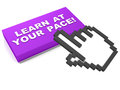Learn at your own pace customized learning button with text and hand icon on white background Stock Image