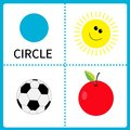 Learning circle form. Sun, football ball and apple. Educational cards for kids. Flat design.