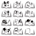 Learning icons set of books with school education symbols Royalty Free Stock Photo