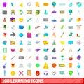 100 learning icons set, cartoon style