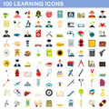100 learning icons set, flat style