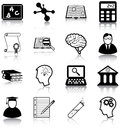 Learning and knowledge related icons silhouettes Royalty Free Stock Images