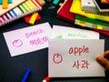 Learning new language making original flash cards korean Royalty Free Stock Image