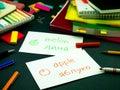 Learning new language making original flash cards ukrainian Stock Image