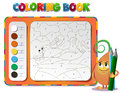 Learning tempo muzyke allegro choose the color of the figure coloring book about rabbit Royalty Free Stock Photo