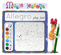 Learning tempo muzyke allegro coloring book of music music lessons choose the color of the note Royalty Free Stock Photography