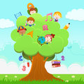 Learning tree little children climbing on a with school objects Royalty Free Stock Photography
