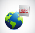 Leased sign on a globe illustration design Royalty Free Stock Photo