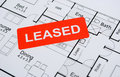 leased sign on house plan Royalty Free Stock Photo