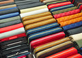 Leather accessory market colorful purses selling in store business background Stock Image