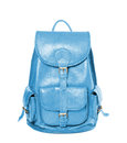 Leather backpack standing isolated on white sky blue color Royalty Free Stock Photo