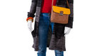 Leather bag with sweater coat. Royalty Free Stock Photo