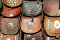 Leather bags souvenirs Royalty Free Stock Photo