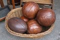 Leather balls vintage style for volleyball and rugby Stock Photography
