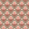 Leather beige upholstery with pattern seamless retro background and buttons red floral Stock Image