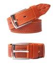 Leather belt isolated on white background. Royalty Free Stock Photo