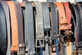 Leather belts home made batch of close up detail photo Royalty Free Stock Photos