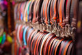Leather belts from a market in florence italy Royalty Free Stock Photo