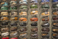 Leather belts various fashion on a display Royalty Free Stock Photos