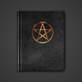 Leather book with pentagram vector Royalty Free Stock Photos