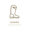 Leather boots line logo. Flat sign for polo equipment store. Traditional cowboy footwear icon