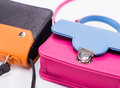 Leather colored womans handbags Royalty Free Stock Photo