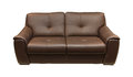 Leather couch brown isolated with clipping path included Stock Images