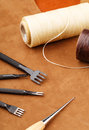 Leather craft tool close up Royalty Free Stock Image