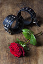 Leather cuffs with a rose on wood Royalty Free Stock Photos