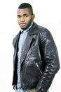 Leather fashion man in casual jacket a portrait Royalty Free Stock Photo