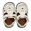Leather footwear for the young child Stock Photos