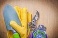 Leather gloves hand shovel sharp garden pruner soft wire tie on Royalty Free Stock Photo