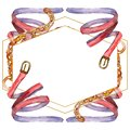 Leather and golden chain belts glamour illustration in a watercolor style background. Frame border ornament square.