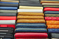Leather goods retail colorful purses and wallets selling in store business background Royalty Free Stock Images
