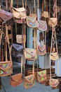 Leather Hanging Purses Stock Photography