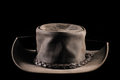Leather hat australian style bush isolated Stock Photo