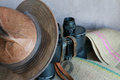 Leather Hat, Vintage Binoculars and Burlap Royalty Free Stock Photo