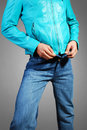 Leather jacket & jeans Stock Photos