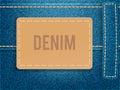 Leather label on blue denim fabric. Vector illustration template.