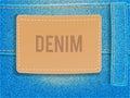 Leather label on light blue denim fabric. Vector illustration template.