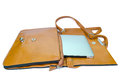 Leather ladies handbag with tablet pc on white background Royalty Free Stock Photography